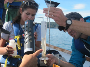 Students in the Salish Sea Expeditions Sound Program performing Water Quality Monitoring