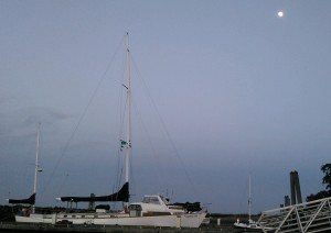 S/V Carlyn under the moon